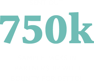 Sent out 750k sample packs in partnership with Bounty for Dettol.