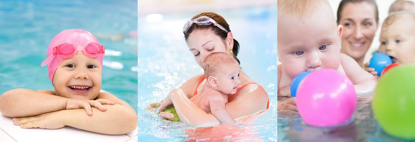 Mums with babies at swimming pool