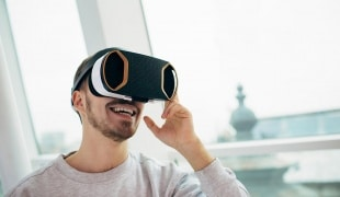 Man with VR headset on