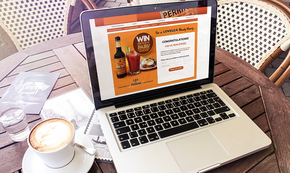 Lea and Perrins website on laptop