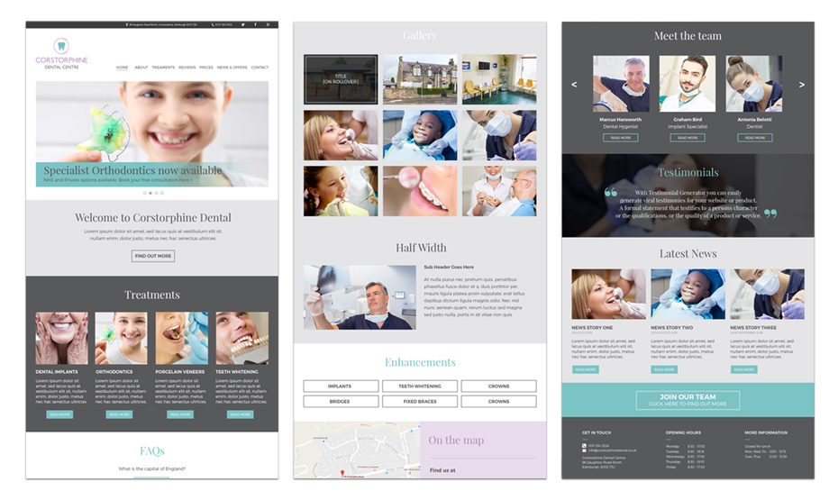 Modular template layouts.